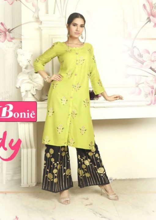 bonie pretty lady heavy rayon kurti with plazzo in 14 kg printed rayon fabric full catalog 1