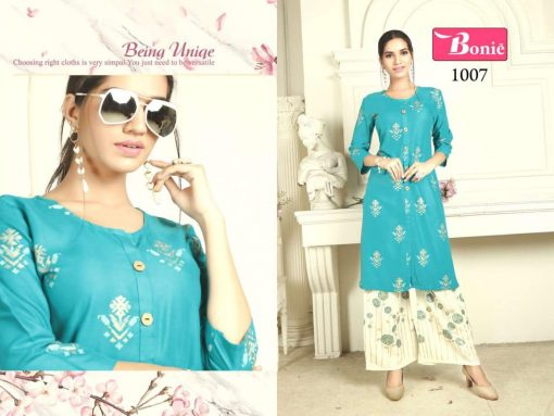 bonie pretty lady heavy rayon kurti with plazzo in 14 kg printed rayon fabric full catalog 3