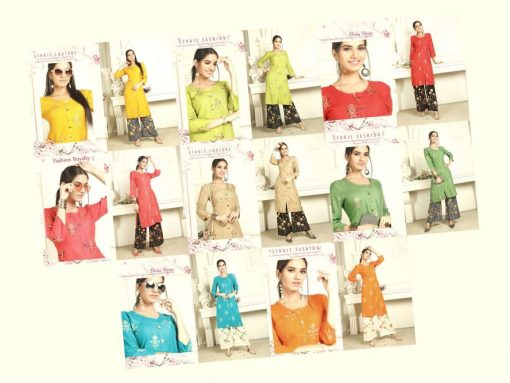 bonie pretty lady heavy rayon kurti with plazzo in 14 kg printed rayon fabric full catalog 4