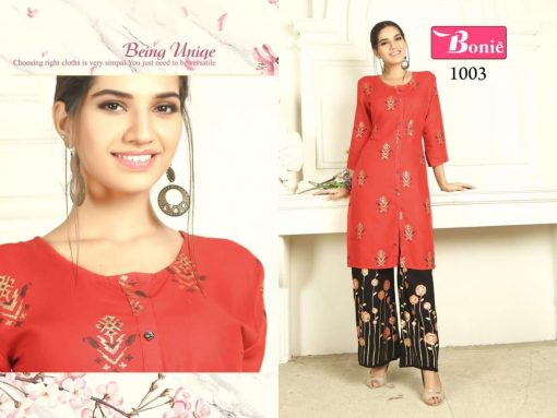 bonie pretty lady heavy rayon kurti with plazzo in 14 kg printed rayon fabric full catalog 5