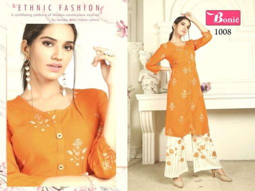bonie pretty lady heavy rayon kurti with plazzo in 14 kg printed rayon fabric full catalog 6