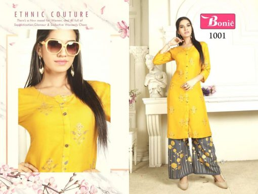 bonie pretty lady heavy rayon kurti with plazzo in 14 kg printed rayon fabric full catalog 8