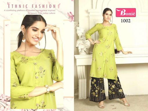 bonie pretty lady heavy rayon kurti with plazzo in 14 kg printed rayon fabric full catalog 9