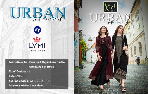 lymi urban designer festive wear rayon kurti collection with ruby silk shrug full catalog 3