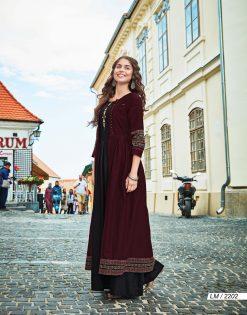 lymi urban designer festive wear rayon kurti collection with ruby silk shrug full catalog 19