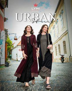 lymi urban designer festive wear rayon kurti collection with ruby silk shrug full catalog 20