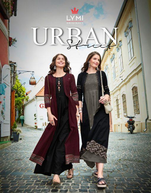 lymi urban designer festive wear rayon kurti collection with ruby silk shrug full catalog 1