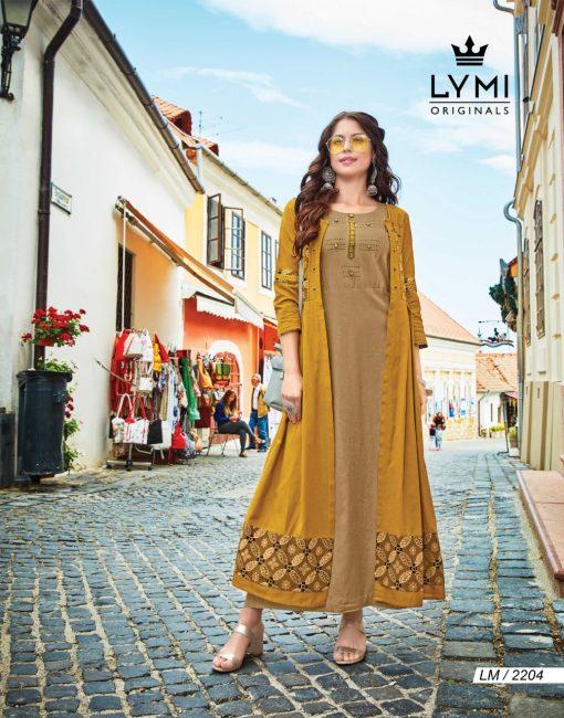 lymi urban designer festive wear rayon kurti collection with ruby silk shrug full catalog 10