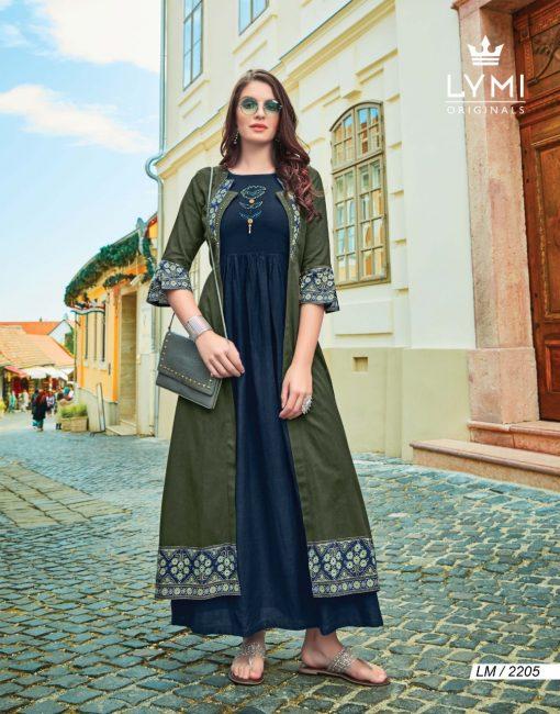 lymi urban designer festive wear rayon kurti collection with ruby silk shrug full catalog 11