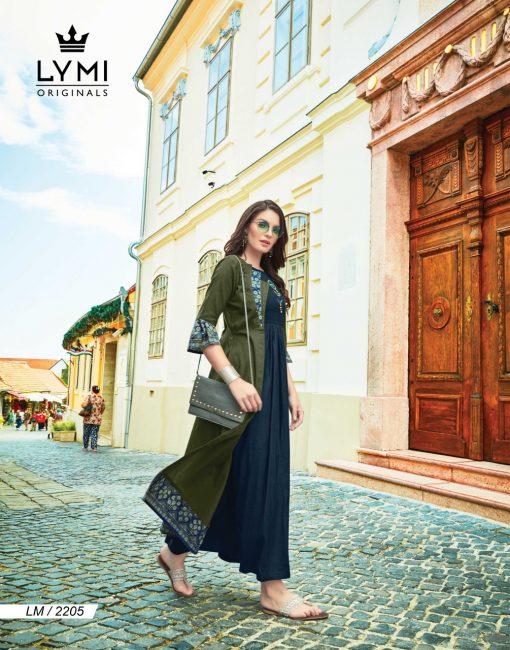 lymi urban designer festive wear rayon kurti collection with ruby silk shrug full catalog 12