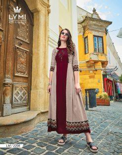 lymi urban designer festive wear rayon kurti collection with ruby silk shrug full catalog 26