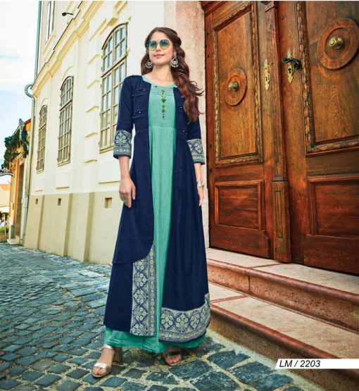 lymi urban designer festive wear rayon kurti collection with ruby silk shrug full catalog 14