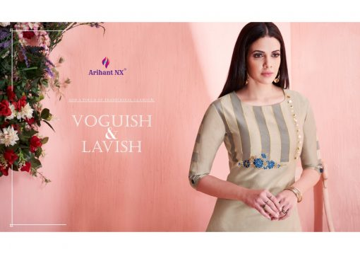 arihant present mehar pure silk stylish kurti with plazzo collection 3
