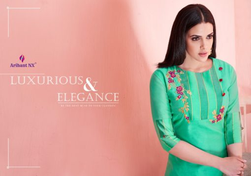 arihant present mehar pure silk stylish kurti with plazzo collection 7
