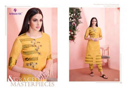 arihant present mehar pure silk stylish kurti with plazzo collection 8