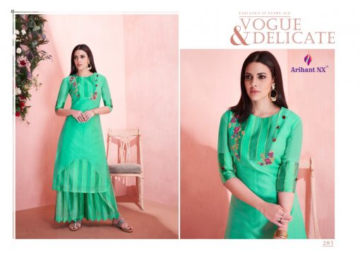 arihant present mehar pure silk stylish kurti with plazzo collection 10