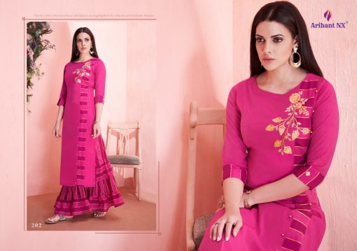 arihant present mehar pure silk stylish kurti with plazzo collection 11