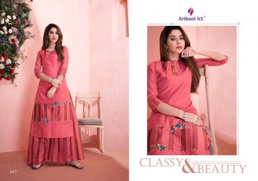 arihant present mehar pure silk stylish kurti with plazzo collection 17