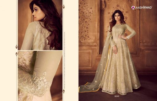 aashirwad karigari vol 2 long gown style party wear salwar suit online trader 10