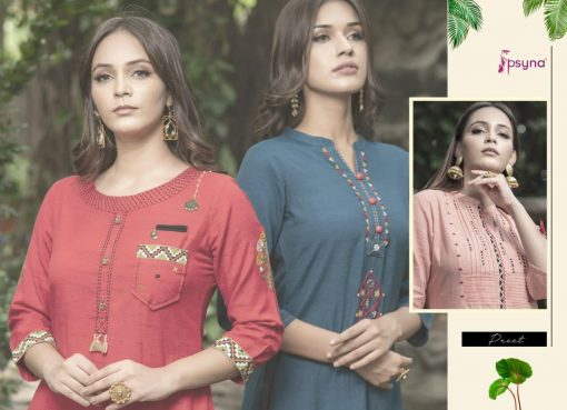 Psyna launch preet vol 4 cotton rayon kurti with plazzo online collection 4