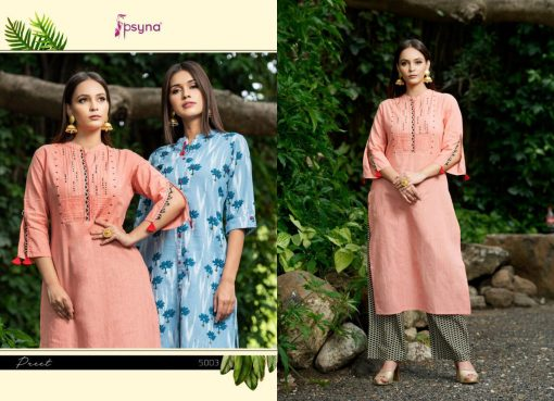 Psyna launch preet vol 4 cotton rayon kurti with plazzo online collection 9