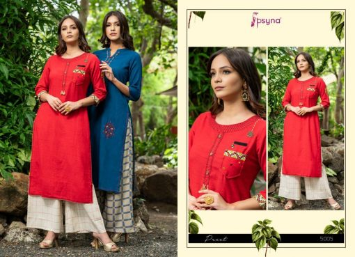 Psyna launch preet vol 4 cotton rayon kurti with plazzo online collection 10