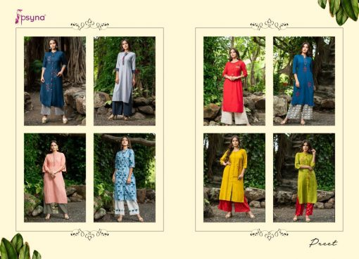 Psyna launch preet vol 4 cotton rayon kurti with plazzo online collection 13