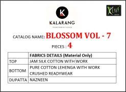 kalarang launching blossom vol 7 jam silk cotton lehanga style salwar kameez 14