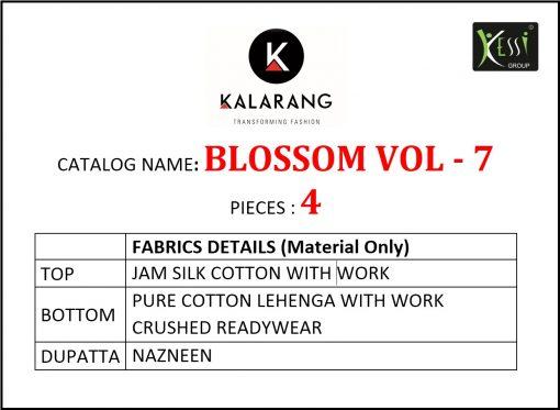 kalarang launching blossom vol 7 jam silk cotton lehanga style salwar kameez 5