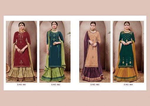 kalarang launching blossom vol 7 jam silk cotton lehanga style salwar kameez 6