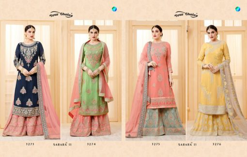 YC Sarara Vol 10 Georgette With Embroidery Sharara Suit wholesale rate 5