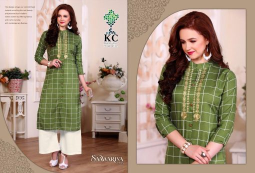 KC SAAWARIYA RAYON FANCY KURTIS WITH PALAZZO COLLECTION WHOLESALER 2