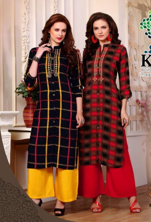 KC SAAWARIYA RAYON FANCY KURTIS WITH PALAZZO COLLECTION WHOLESALER 1