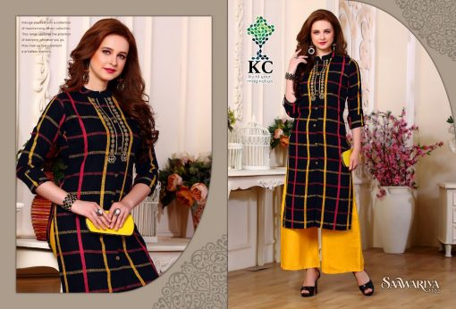 KC SAAWARIYA RAYON FANCY KURTIS WITH PALAZZO COLLECTION WHOLESALER 6