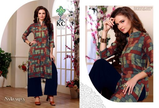 KC SAAWARIYA RAYON FANCY KURTIS WITH PALAZZO COLLECTION WHOLESALER 12
