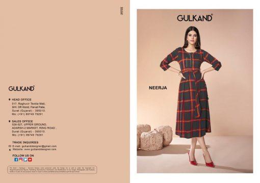 gulkand neerja heavy rayon casual wear kurti collection with hand work and print full catalog 3