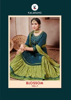 kalarang launching blossom vol 7 jam silk cotton lehanga style salwar kameez 11