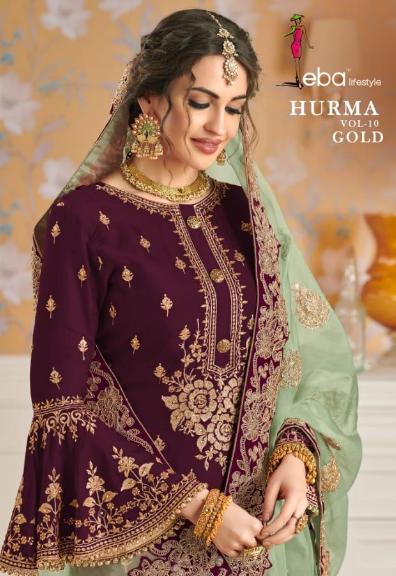 Hurma Vol 10 Gold Designer Faux Georgette Embroidered Salwar Kameez 1