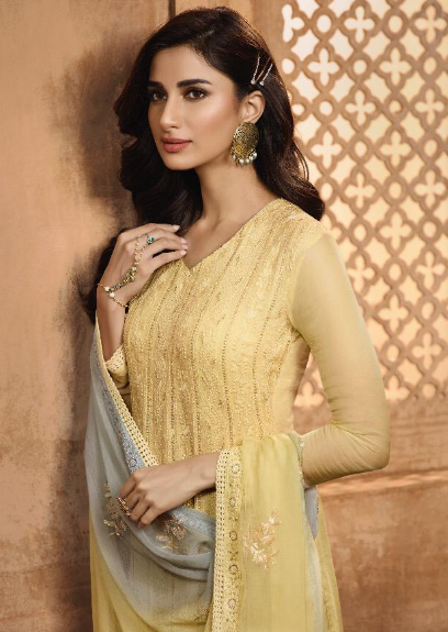 KHWAISH VOL-28 BY EKTA FASHION 2801 TO 2808 SERIES BEAUTIFUL WINTER COLLECTION SUITS STYLISH FANCY COLORFUL CASUAL WEAR & ETHNIC WEAR CHIFFON EMBROIDERED DRESSES AT WHOLESALE PRICE. 1