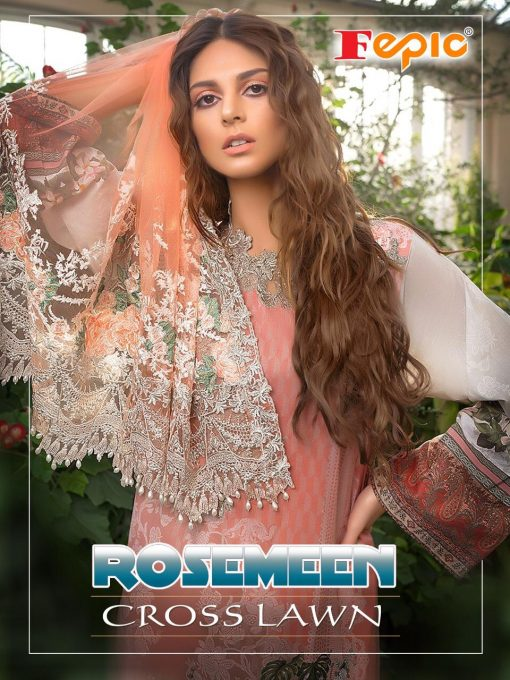 Rosemeen Cross Lawn Cambric Cotton Pakistani Collection 1