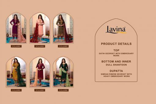 lavina launch lavina vol 65 satin georgette party wear salwar suit 3