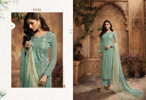 KHWAISH VOL-28 BY EKTA FASHION 2801 TO 2808 SERIES BEAUTIFUL WINTER COLLECTION SUITS STYLISH FANCY COLORFUL CASUAL WEAR & ETHNIC WEAR CHIFFON EMBROIDERED DRESSES AT WHOLESALE PRICE. 2