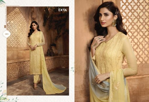 KHWAISH VOL-28 BY EKTA FASHION 2801 TO 2808 SERIES BEAUTIFUL WINTER COLLECTION SUITS STYLISH FANCY COLORFUL CASUAL WEAR & ETHNIC WEAR CHIFFON EMBROIDERED DRESSES AT WHOLESALE PRICE. 4