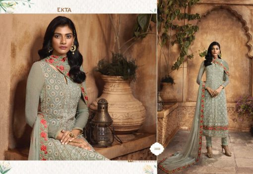 KHWAISH VOL-28 BY EKTA FASHION 2801 TO 2808 SERIES BEAUTIFUL WINTER COLLECTION SUITS STYLISH FANCY COLORFUL CASUAL WEAR & ETHNIC WEAR CHIFFON EMBROIDERED DRESSES AT WHOLESALE PRICE. 3