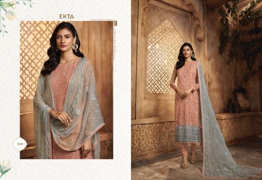 KHWAISH VOL-28 BY EKTA FASHION 2801 TO 2808 SERIES BEAUTIFUL WINTER COLLECTION SUITS STYLISH FANCY COLORFUL CASUAL WEAR & ETHNIC WEAR CHIFFON EMBROIDERED DRESSES AT WHOLESALE PRICE. 6