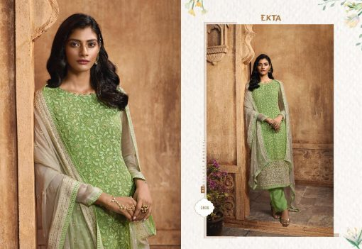 KHWAISH VOL-28 BY EKTA FASHION 2801 TO 2808 SERIES BEAUTIFUL WINTER COLLECTION SUITS STYLISH FANCY COLORFUL CASUAL WEAR & ETHNIC WEAR CHIFFON EMBROIDERED DRESSES AT WHOLESALE PRICE. 9