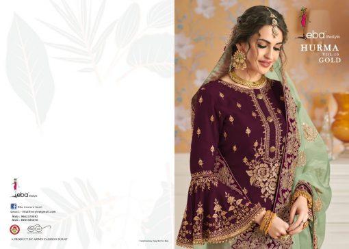Hurma Vol 10 Gold Designer Faux Georgette Embroidered Salwar Kameez 2